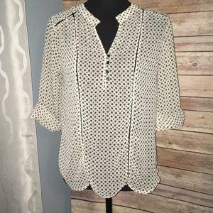 Sheer black/ white blouse